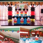 Mickey Mouse Balloon Setup for a Christening Celebration at Hannah's Party Place