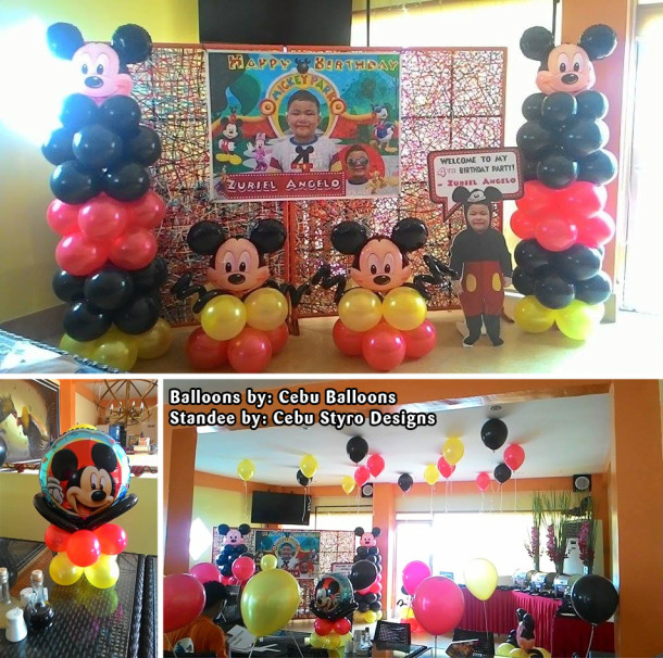 Mickey Mouse Balloons, Tarp & Styro Decoration at Gerardo's Grill