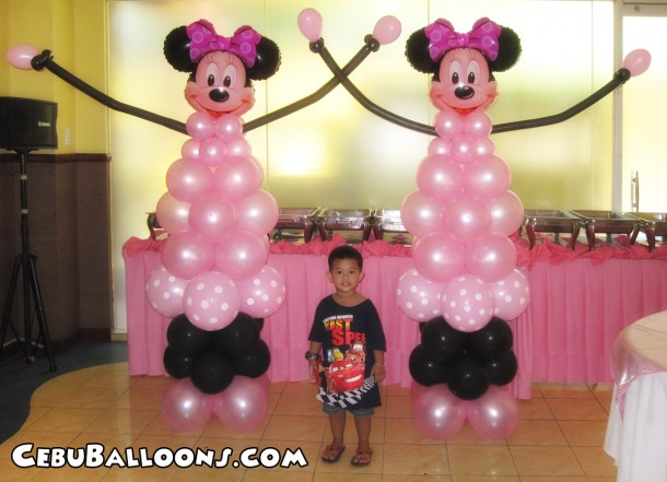 Minnie Mouse Balloon Pillars at Hannah's Party Place