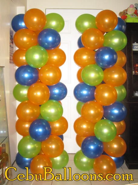 Orange, Light Green, Blue Balloon Columns