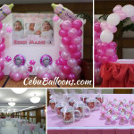 Pink, Hot Pink, White Balloon Setup with Giveaways for a Christening at Crown Regency (Jade Room)