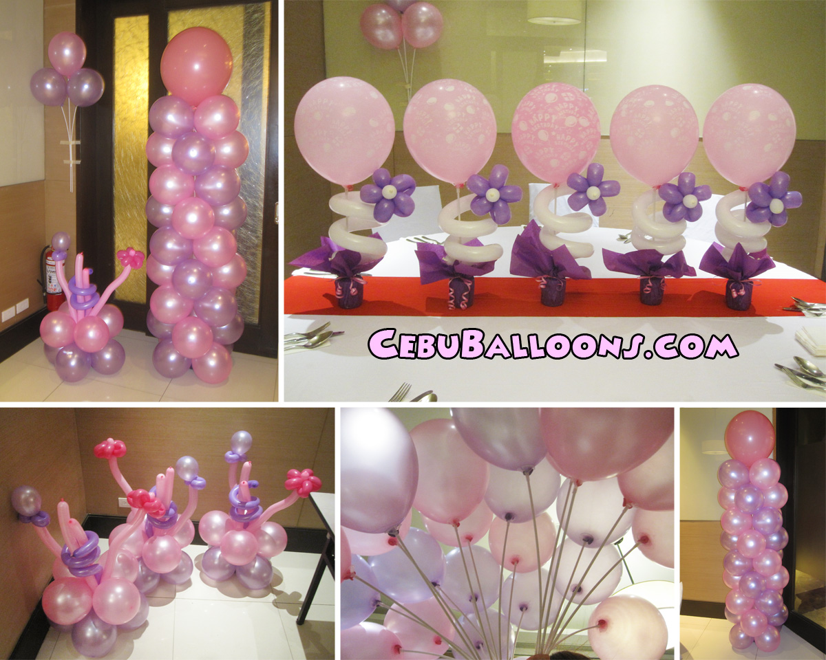 pink purple balloon decoration for 80th birthday at quest hotel