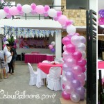 Pink & Purple Balloon Entrance Arch with Flying Balloons at L. Jaime Mandaue City
