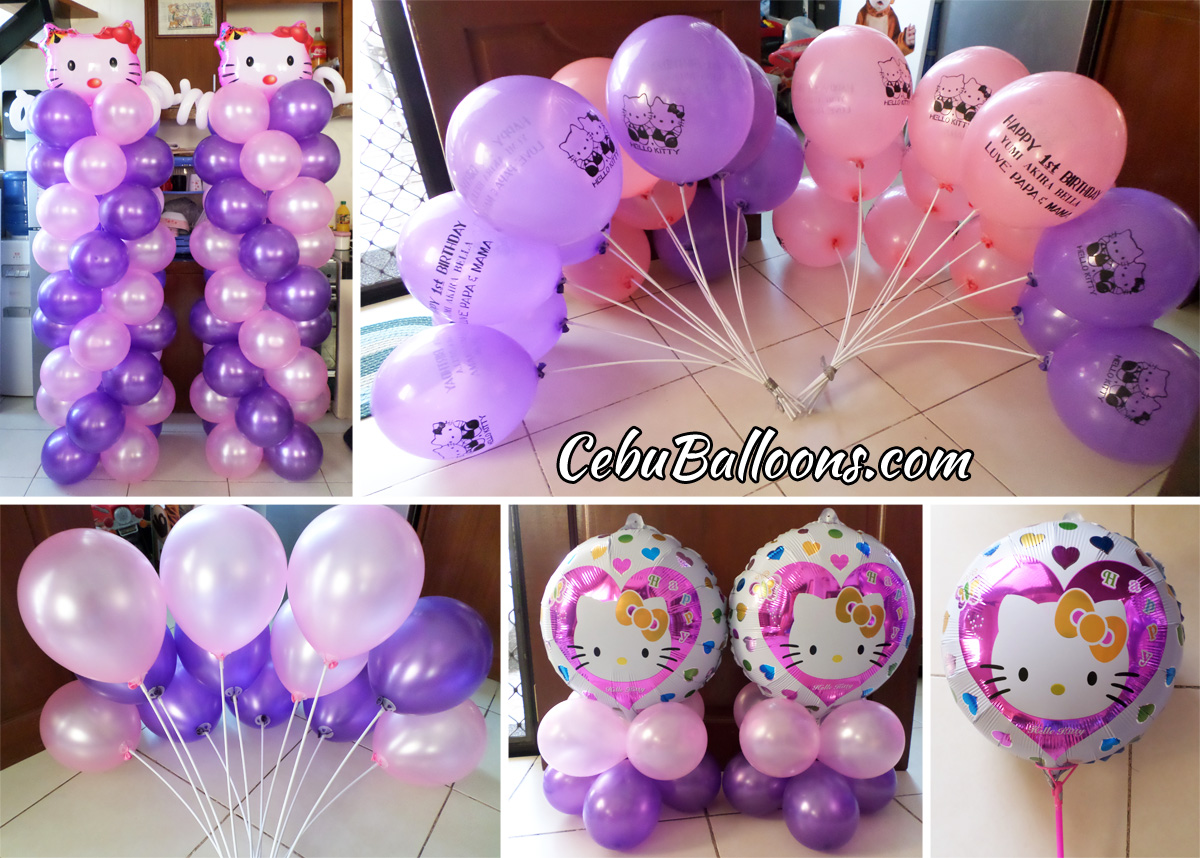 Pink purple cebu balloons and party supplies pink purple hello kitty balloon decors junglespirit Image collections