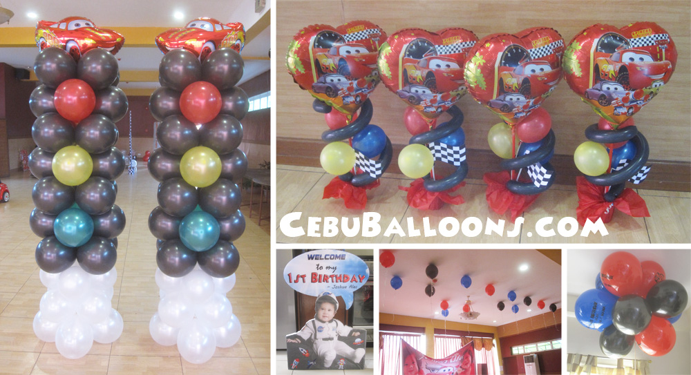 Lightning mcqueen balloon decoration for twins birthday at for Balloon decoration cars theme