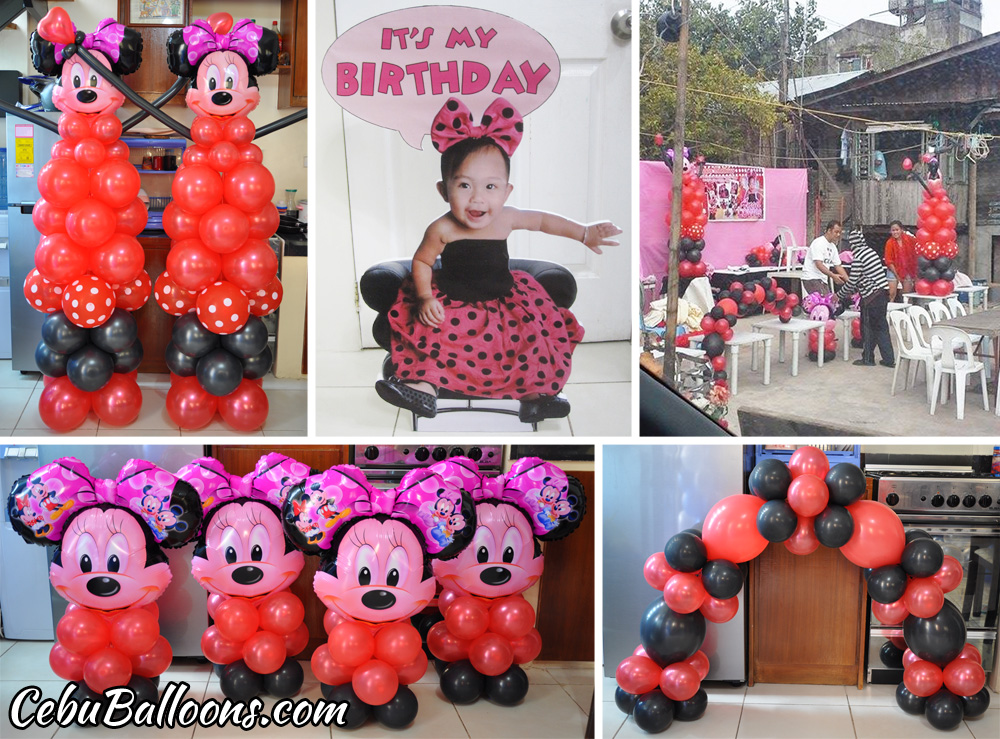 Red Black Minnie Mouse Balloon Decoration Barrida At Zapatera