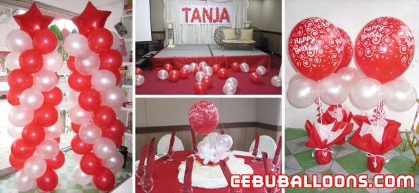 Red & White Balloon Decoration for Debut
