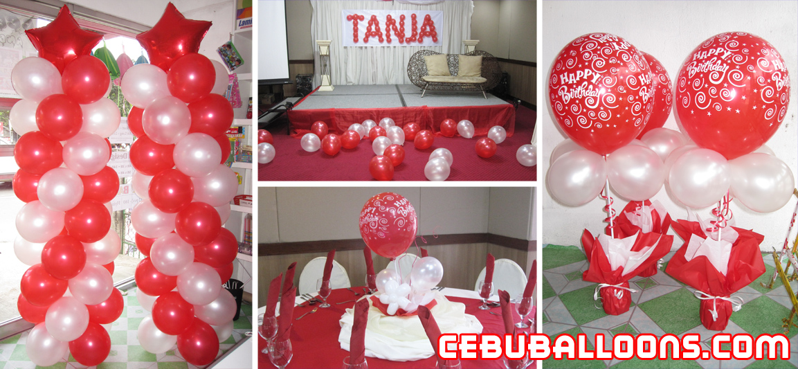 Red amp White Balloon Decoration For Debut Cebu Balloons