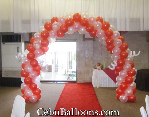 Red & White Balloon Entrance Arch (Double Rotation) at Montebello