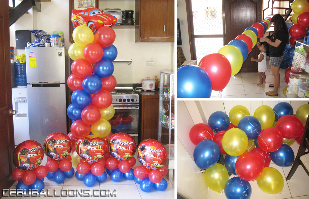 Simple cars theme balloon decoration package cebu for Balloon decoration packages