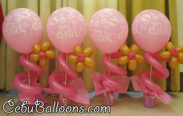 Simple Christening Balloon Centerpiece (Pink & Brown)