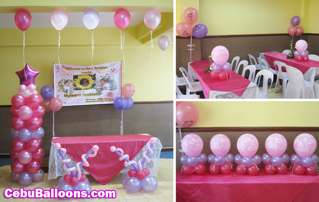 Simple Christening Balloon Decoration Pink Purple At Hannahs Jackosalem