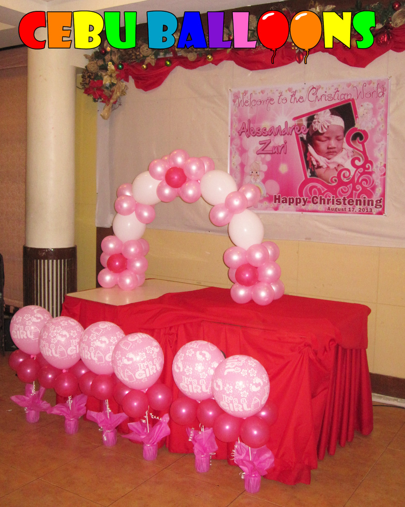 Simple christening balloon decoration at sugbahan cebu for Balloon decoration ideas for christening