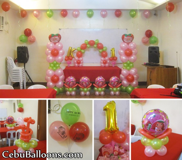 Strawberry Shortcake Balloon Decoration at AA's Barbeque Pusok