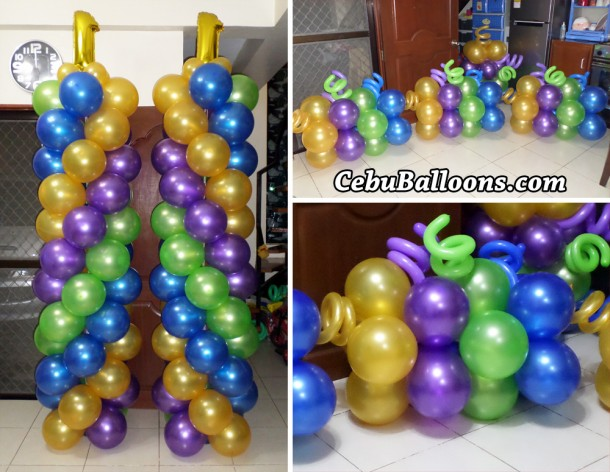 Tall Mardi Gras Balloon Pillars with Ground Balloons for Bridges Team Effort Internation 1st Anniversary