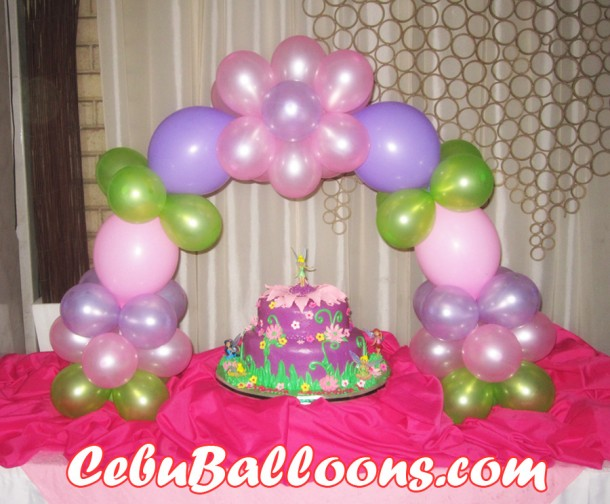 Tinkerbell Cake and Balloon Cake Arch
