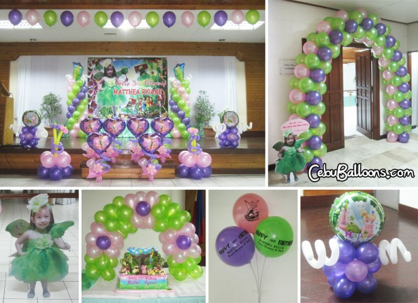 Tinkerbell Theme Balloon Setup at Sacred Heart Center (Saint Joseph Hall)