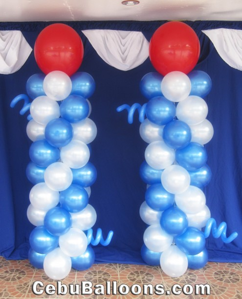 White & Blue Balloon Column with Red Mother Balloon