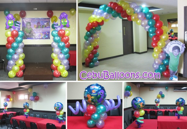 Barney cebu balloons and party supplies for Balloon decoration packages manila