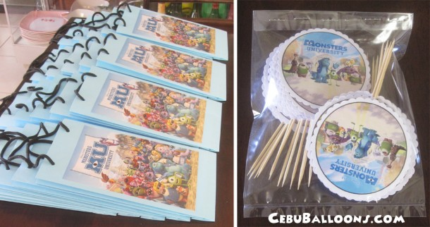 Customized Monster's University Loot Bags & Cup Cake Toppers