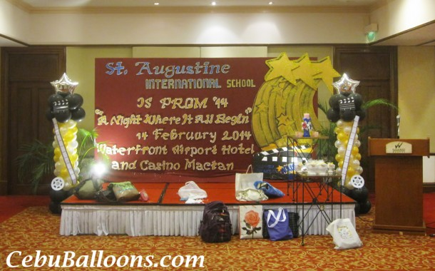 Hollywood Theme Balloon Columns for St Augustine School JS Prom at Waterfront Mactan