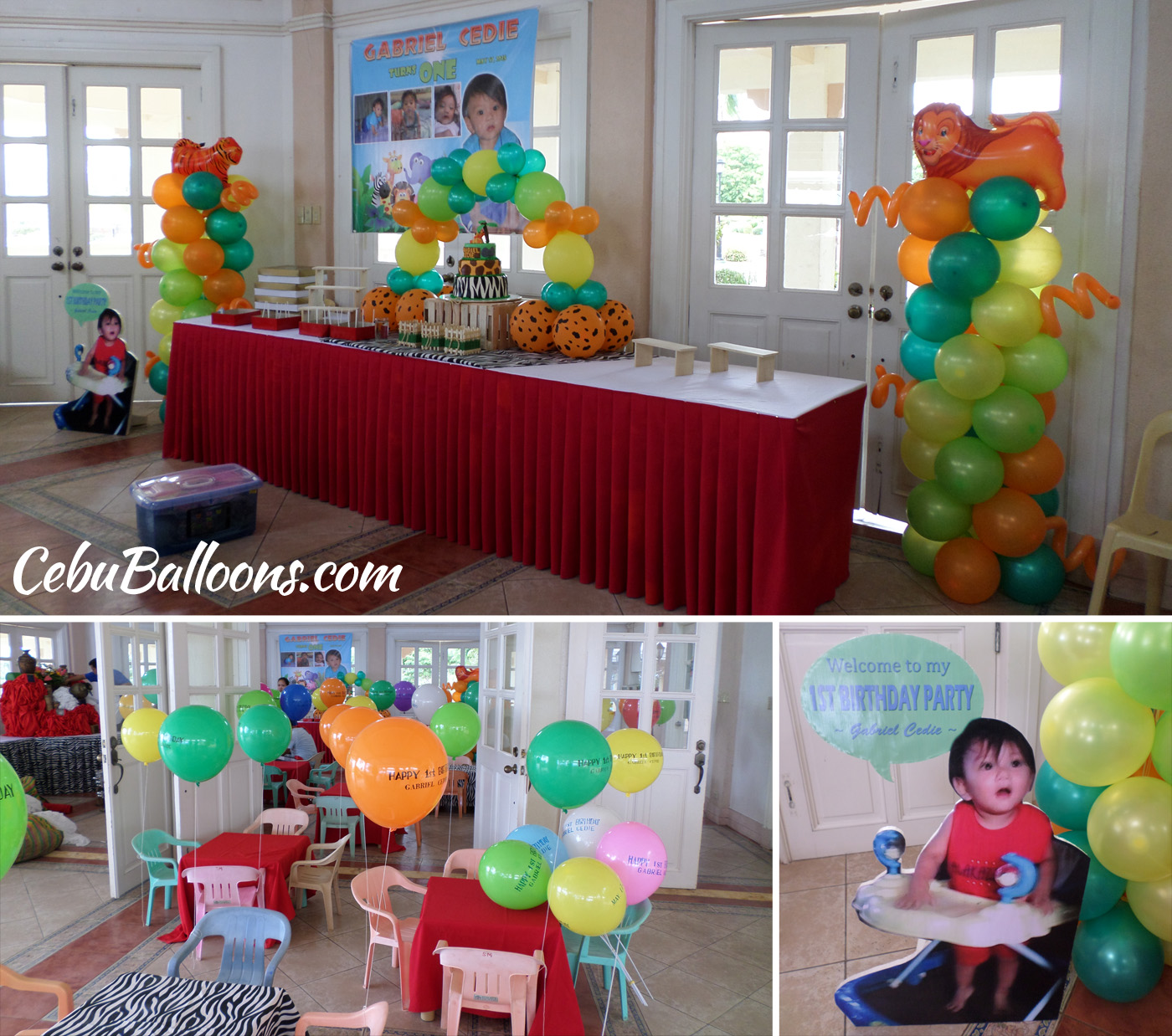 Safari Balloon Setup With Clown Host For Gabriel Cedie 1st Birthday At Corona Del Mar Clubhouse