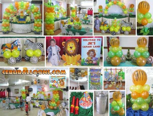 Safari Theme Balloon Decoration and Party Package - Composite