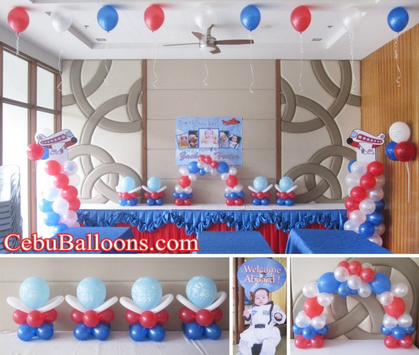 Airplane theme balloon decoration setup at avalon ayala for Airplane party decoration