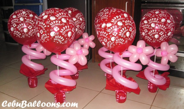 Balloon Centerpieces - Red & Pink