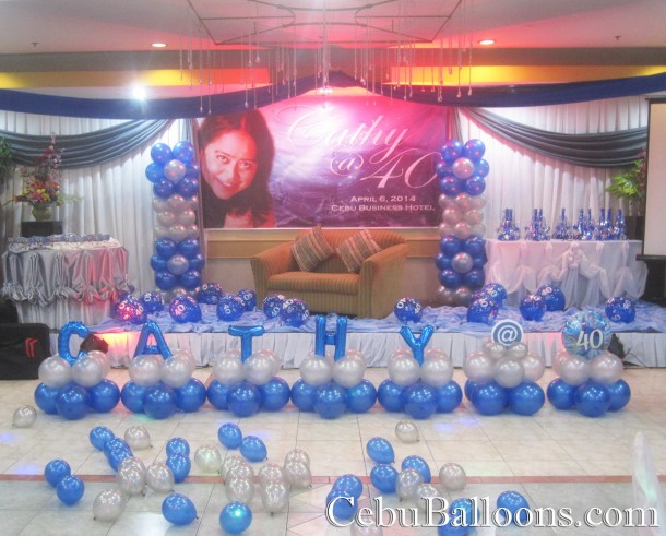 Balloon decoration 40th birthday at cebu business hotel for 40th birthday decoration