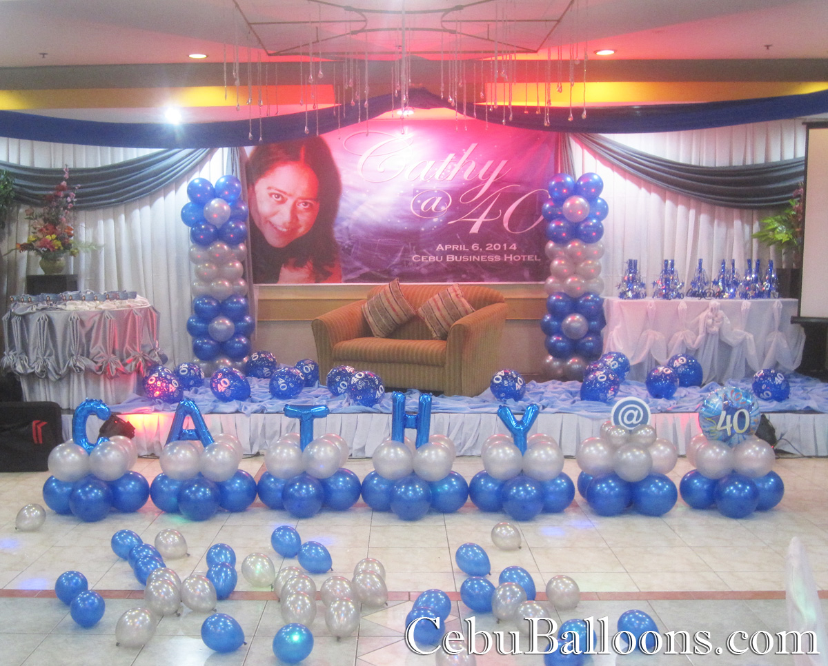 Balloon decoration 40th birthday at cebu business hotel for 40 birthday decoration ideas