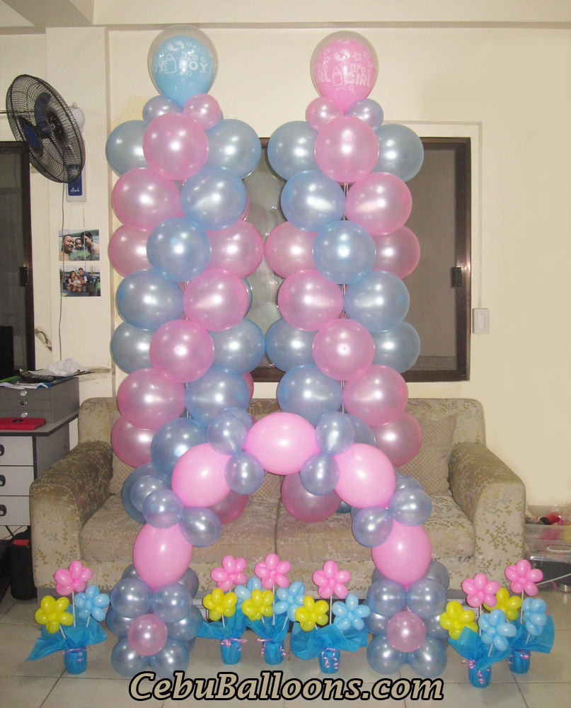 Balloon decoration for boy girl double christening for Balloon decoration ideas for christening