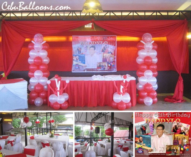Red & White Balloon Decoration in Orosia Food Park