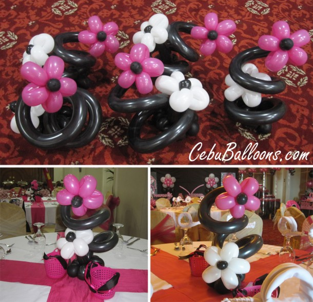 Centerpieces for Juicy Couture Themed Birthday Party