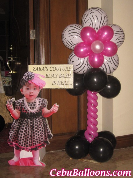 Juicy Couture themed Balloon Pillar & Celebrant Standee