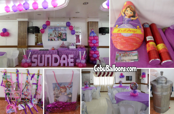 Sofia the First Balloon Decors & Party Supplies for Sundae's 1st Birthday at Maria Lina