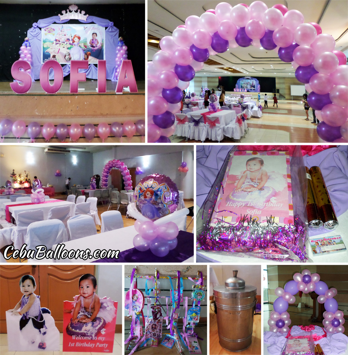 Sofia the first cebu balloons and party supplies for 1st birthday hall decoration ideas