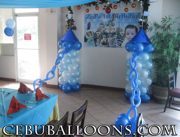 Castle Theme Balloon Columns with Chains