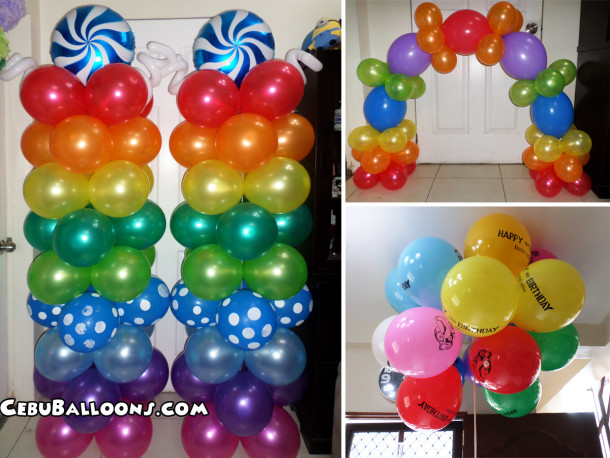 Colorful Sports Rainbow Metallic Balloon Pillars, Cake Arch & Flying Balloons