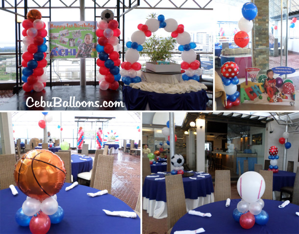 Sports-themed Balloon Decors with Standee & Tarp at Margarita Cuisine Robinland