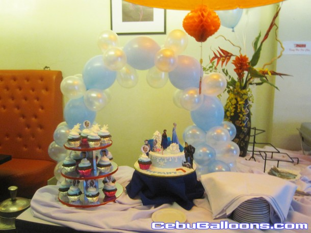 Balloon Cake Arch for Frozen Theme Birthday
