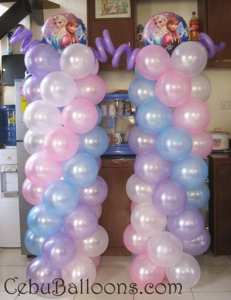 Balloon Pillars with Elsa & Anna Toppers