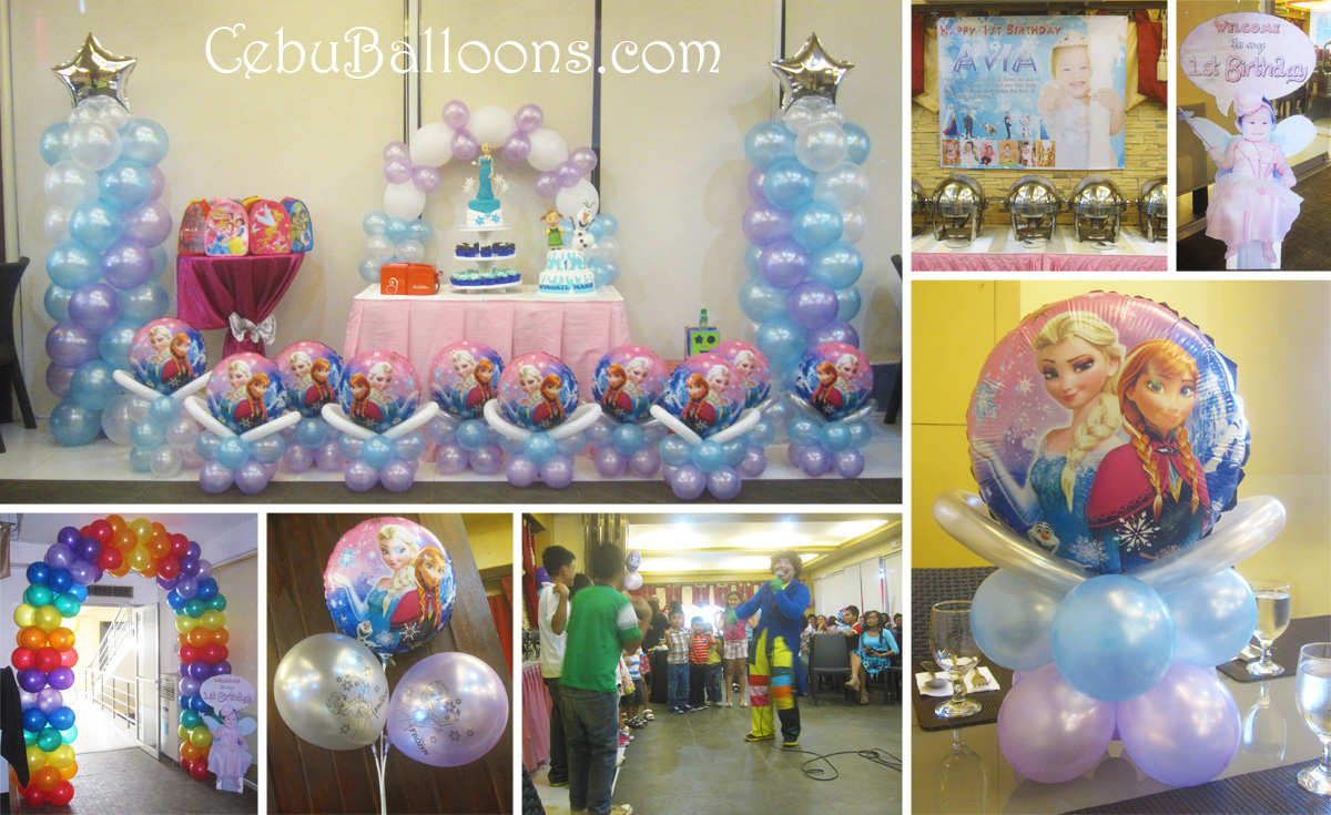 Balloon pillars with elsa anna toppers cebu balloons for Balloon decoration for birthday party philippines