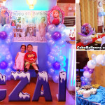 Disney Frozen Balloon Decoration with Styro Letters at Villa Pilipino Restaurant