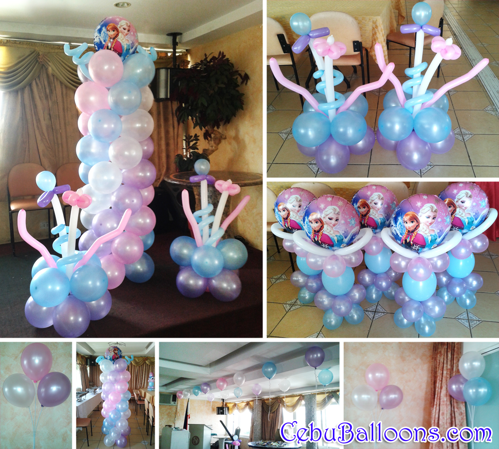 Disney frozen balloon decoration styro backdrop party for Balloon decoration for 1st birthday