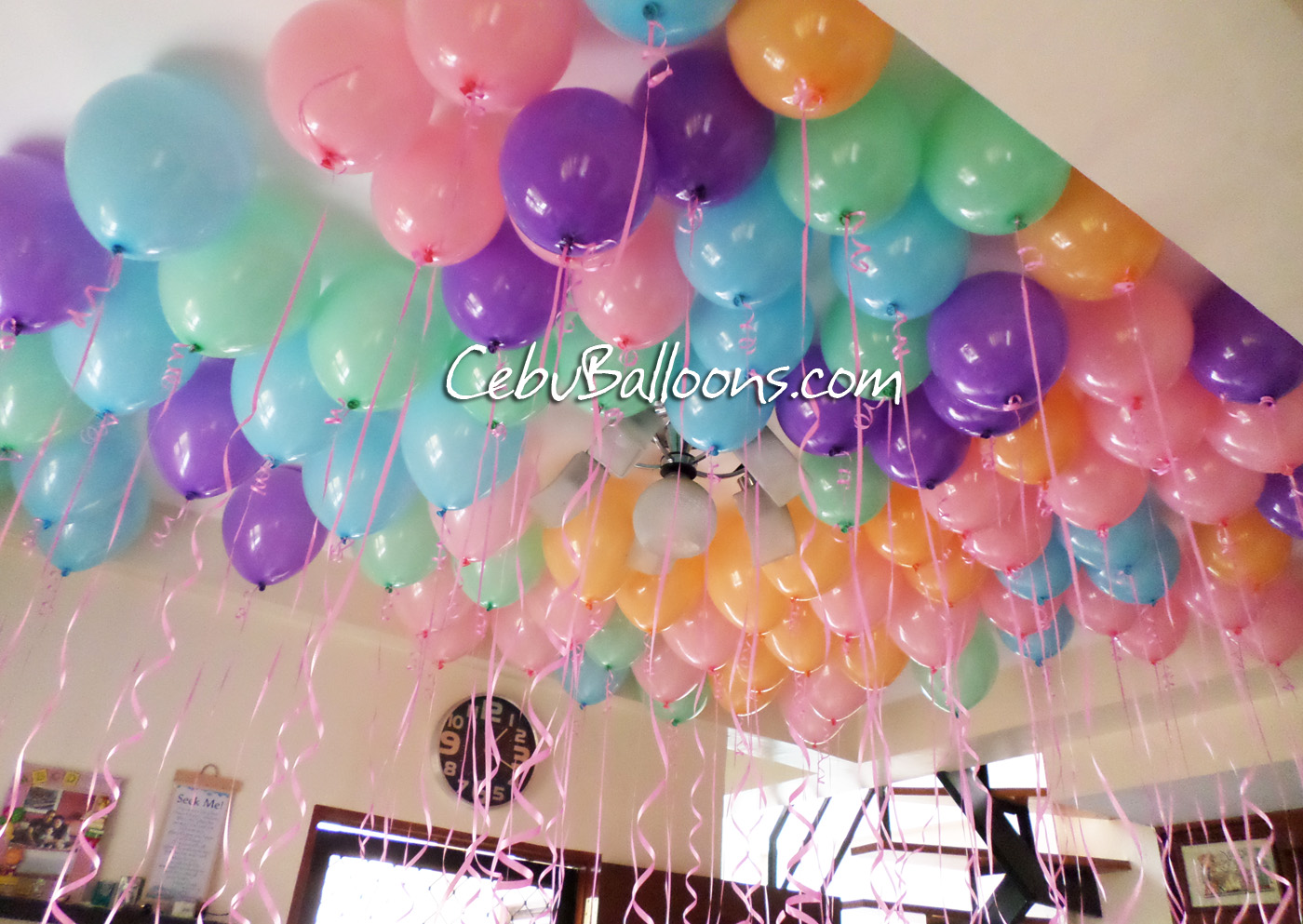 Pastel Colored Flying Balloons For Valentines Day