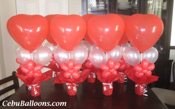 Red & White Balloon Centerpieces for JS Prom