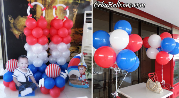 Nautical Theme Balloon Setup with Standees at Premiere Citi Suites