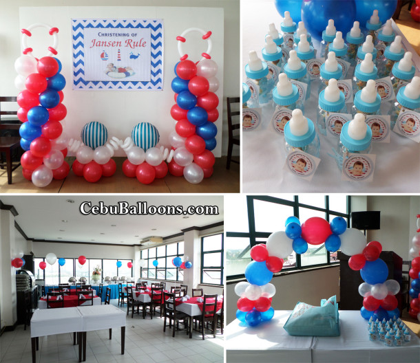 Nautical Theme Christening Decors with Giveaways and Tarp at Ace Penzionne Lapulapu
