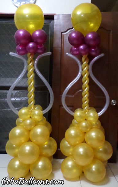 Balloon Pillars for Golden Birthday